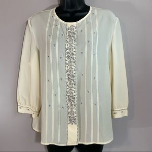 Casual Corner Vintage Silk Embroidered Blouse